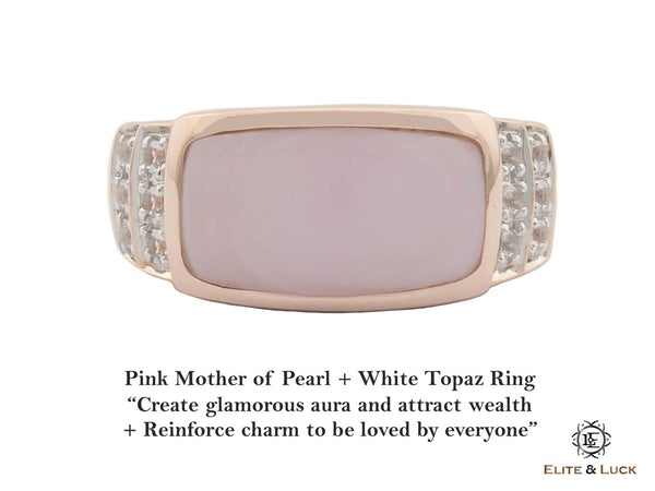 Pink Mother of Pearl + White Topaz Sterling Silver Ring, Rose Gold plated, Noble Model