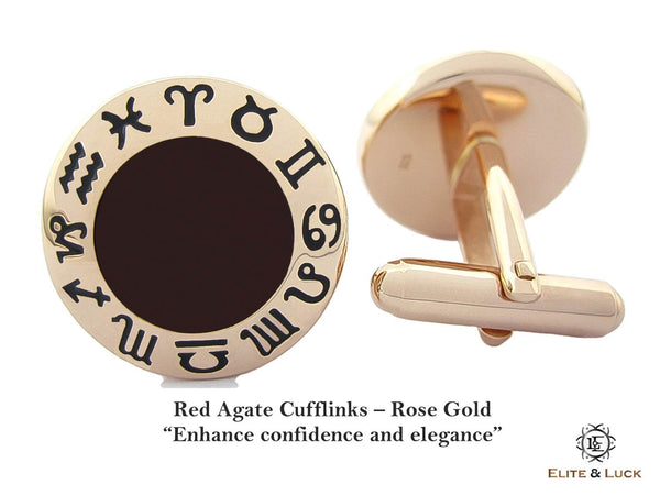 Red Agate Sterling Silver Cufflinks, Rose Gold plated, Zodiac Model *** Exclusive Cufflinks for Aries ***