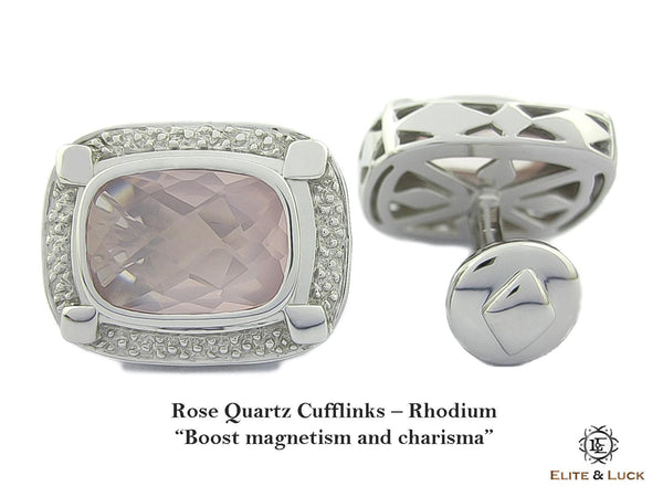 Rose Quartz Sterling Silver Cufflinks, Rhodium plated, Luxury Model