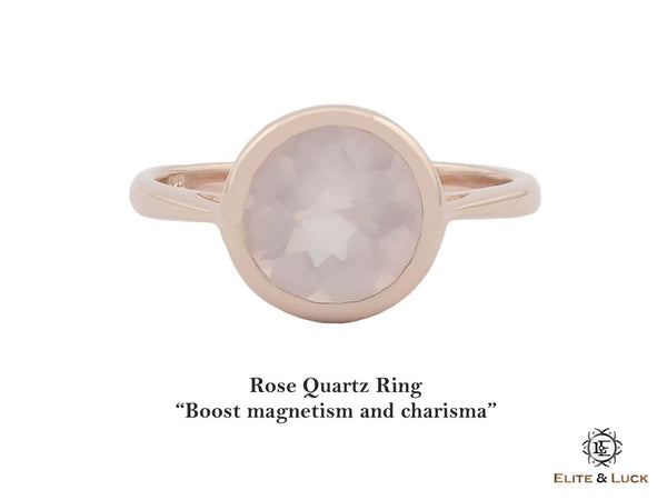 Rose Quartz Sterling Silver Ring, Rose Gold plated, Dashing Model