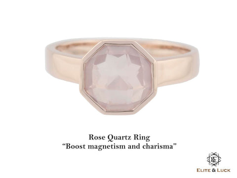 Rose Quartz Sterling Silver Ring, Rose Gold plated, Glamorous Model