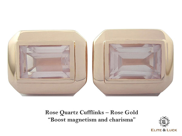 Rose Quartz Sterling Silver Cufflinks, Rose Gold plated, Elite Model