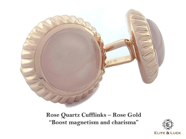 Rose Quartz Sterling Silver Cufflinks, Rose Gold plated, Elegant Model