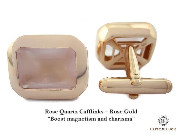 Rose Quartz Sterling Silver Cufflinks, Rose Gold plated, Classic Model