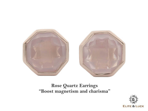 Rose Quartz Sterling Silver Earrings, Rose Gold plated, Glamorous Model
