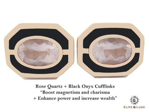 Rose Quartz + Black Onyx Sterling Silver Cufflinks, Rose Gold plated, Charming Model