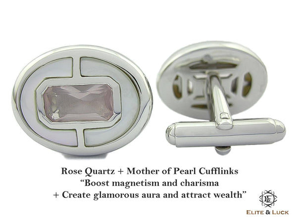 Rose Quartz + Mother of Pearl Sterling Silver Cufflinks, Rhodium plated, Prestige Model