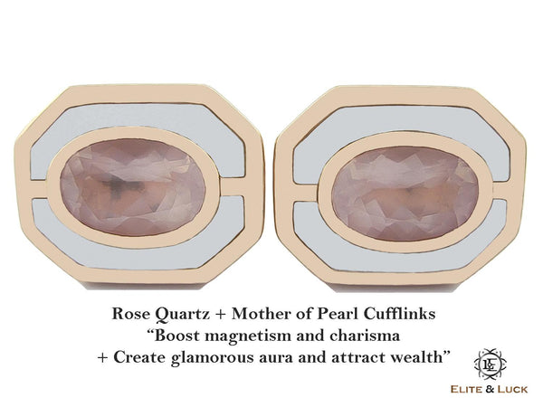 Rose Quartz + Mother of Pearl Sterling Silver Cufflinks, Rose Gold plated, Charming Model