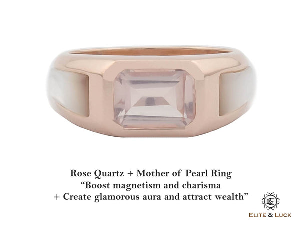 Rose Quartz + Mother of Pearl Sterling Silver Ring, Rose Gold plated, Majestic Model