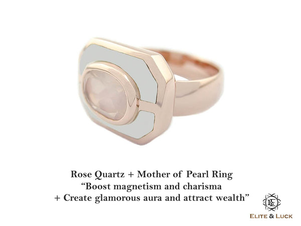 Rose Quartz + Mother of Pearl Sterling Silver Ring, Rose Gold plated, Charming Model