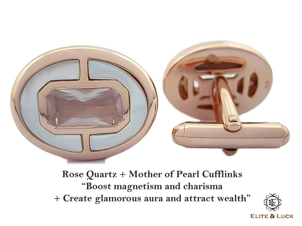 Rose Quartz + Mother of Pearl Sterling Silver Cufflinks, Rose Gold plated, Prestige Model