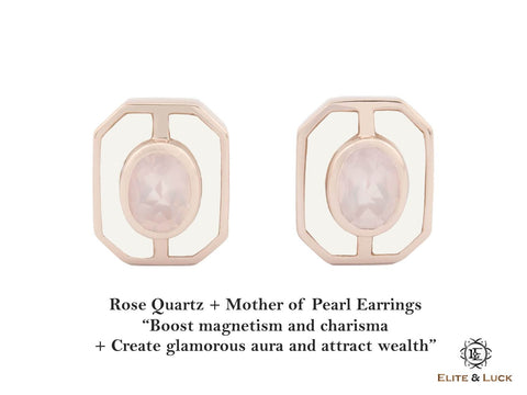 Rose Quartz + Mother of Pearl Sterling Silver Earrings, Rose Gold plated, Charming Model