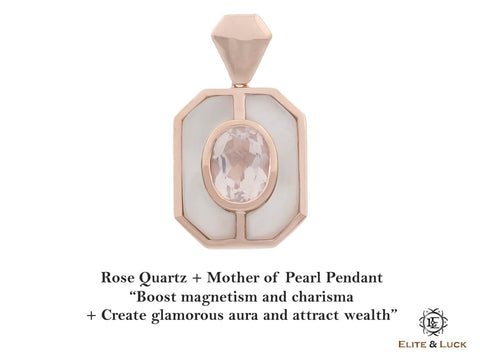 Rose Quartz + Mother of Pearl Sterling Silver Pendant, Rose Gold plated, Charming Model