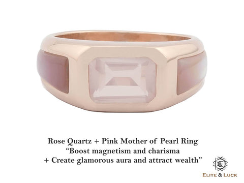 Rose Quartz + Pink Mother of Pearl Sterling Silver Ring, Rose Gold plated, Majestic Model