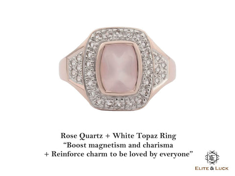 Rose Quartz + White Topaz Sterling Silver Ring, Rose Gold plated, Deluxe Model