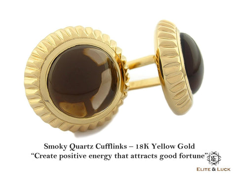 Smoky Quartz Sterling Silver Cufflinks, 18K Yellow Gold plated, Elegant Model