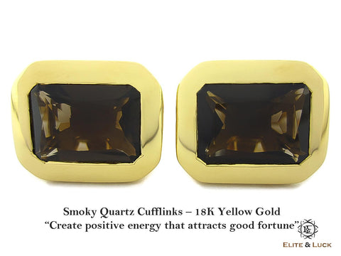 Smoky Quartz Sterling Silver Cufflinks, 18K Yellow Gold plated, Classic Model