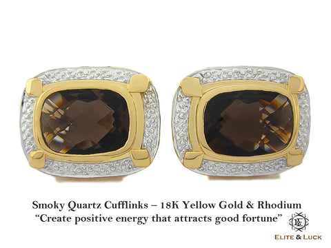 Smoky Quartz Sterling Silver Cufflinks, 18K Yellow Gold & Rhodium plated, Luxury Model