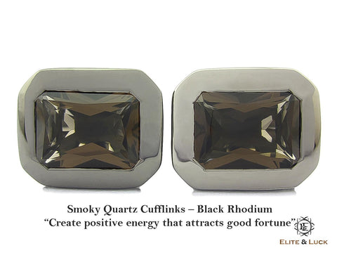 Smoky Quartz Sterling Silver Cufflinks, Black Rhodium plated, Classic Model