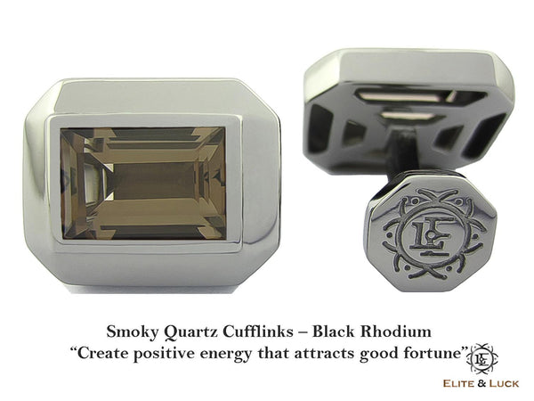 Smoky Quartz Sterling Silver Cufflinks, Black Rhodium plated, Elite Model