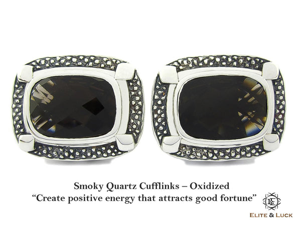 Smoky Quartz Sterling Silver Cufflinks, Oxidized, Luxury Model