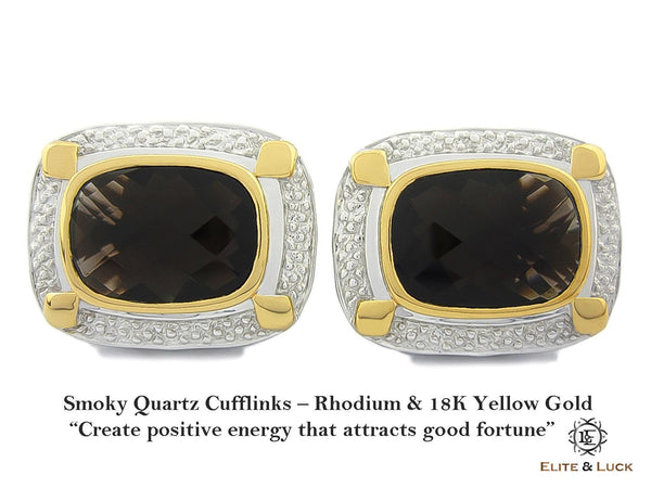Smoky Quartz Sterling Silver Cufflinks, Rhodium & 18K Yellow Gold plated, Luxury Model