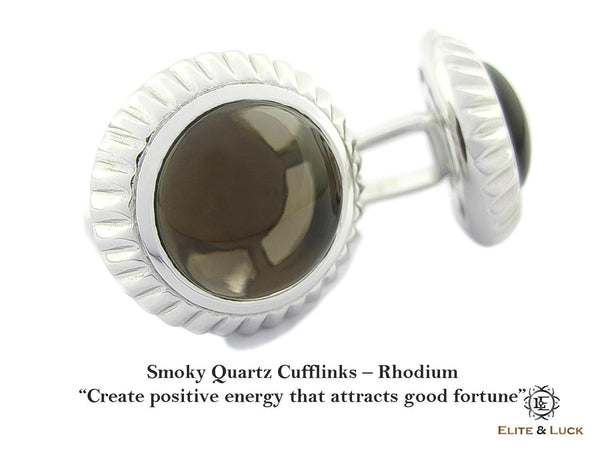 Smoky Quartz Sterling Silver Cufflinks, Rhodium plated, Elegant Model