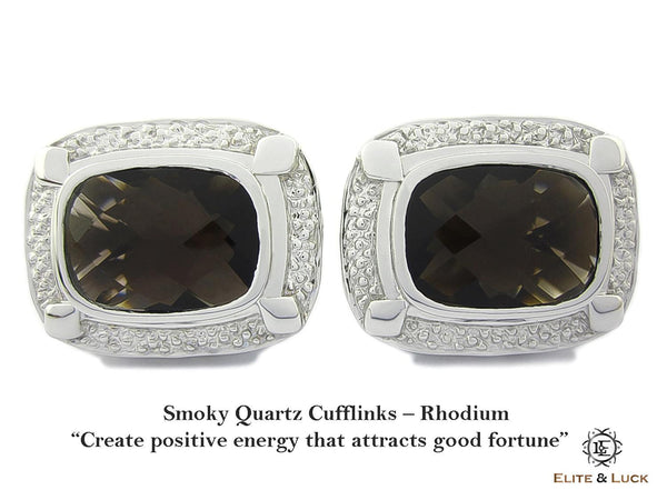 Smoky Quartz Sterling Silver Cufflinks, Rhodium plated, Luxury Model