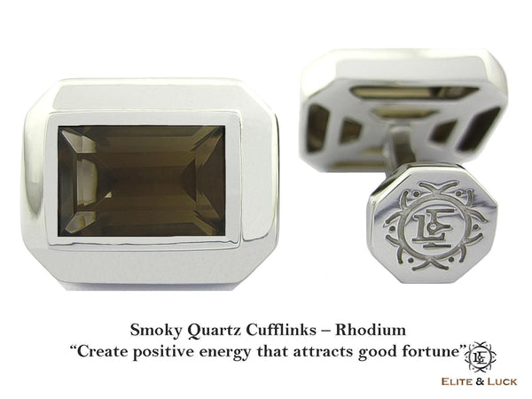 Smoky Quartz Sterling Silver Cufflinks, Rhodium plated, Elite Model