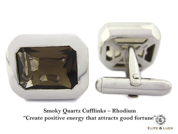 Smoky Quartz Sterling Silver Cufflinks, Rhodium plated, Classic Model