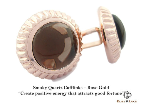Smoky Quartz Sterling Silver Cufflinks, Rose Gold plated, Elegant Model