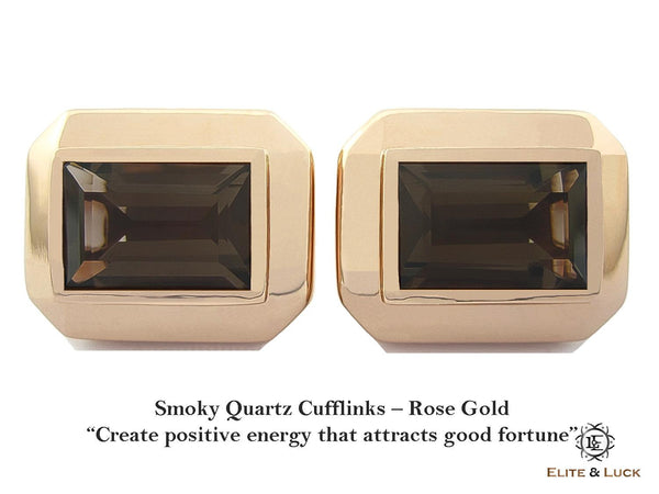 Smoky Quartz Sterling Silver Cufflinks, Rose Gold plated, Elite Model