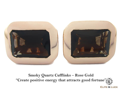 Smoky Quartz Sterling Silver Cufflinks, Rose Gold plated, Classic Model