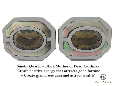 Smoky Quartz + Black Mother of Pearl Sterling Silver Cufflinks, Black Rhodium plated, Charming Model