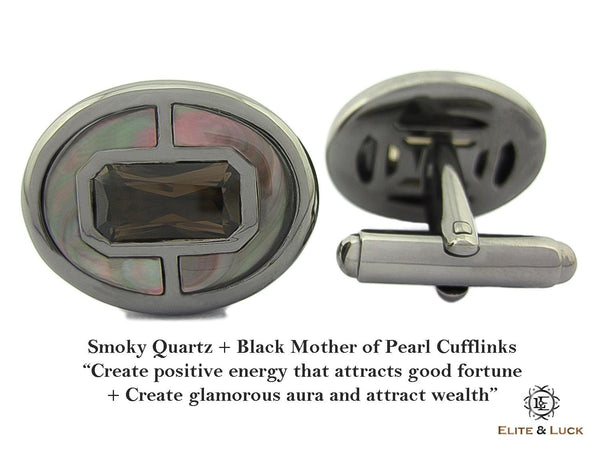 Smoky Quartz + Black Mother of Pearl Sterling Silver Cufflinks, Black Rhodium plated, Prestige Model