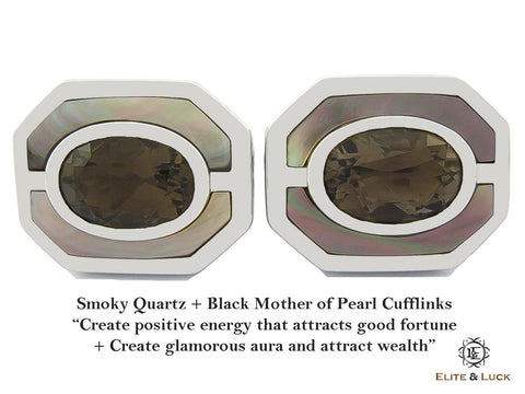 Smoky Quartz + Black Mother of Pearl Sterling Silver Cufflinks, Rhodium plated, Charming Model