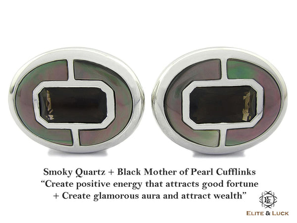 Smoky Quartz + Black Mother of Pearl Sterling Silver Cufflinks, Rhodium plated, Prestige Model