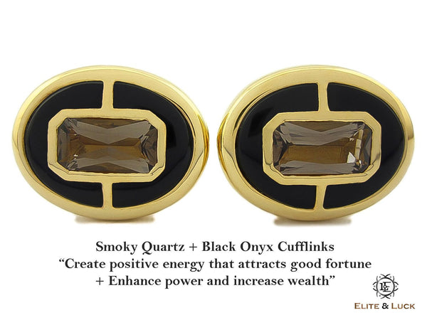 Smoky Quartz + Black Onyx Sterling Silver Cufflinks, 18K Yellow Gold plated, Prestige Model