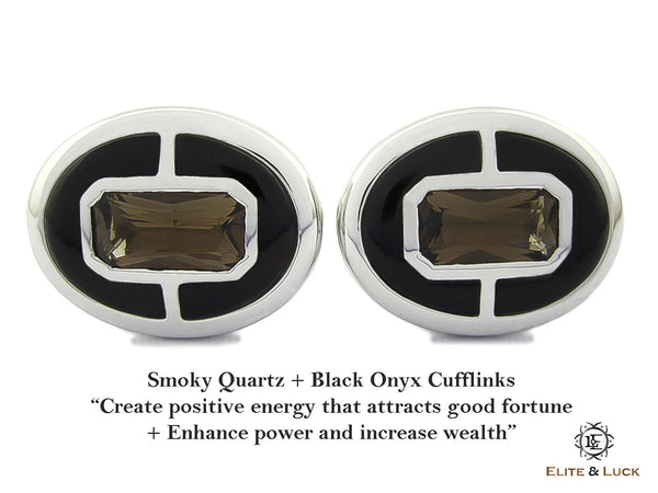 Smoky Quartz + Black Onyx Sterling Silver Cufflinks, Rhodium plated, Prestige Model
