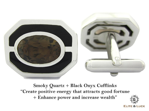 Smoky Quartz + Black Onyx Sterling Silver Cufflinks, Rhodium plated, Charming Model