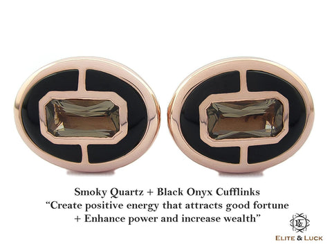 Smoky Quartz + Black Onyx Sterling Silver Cufflinks, Rose Gold plated, Prestige Model