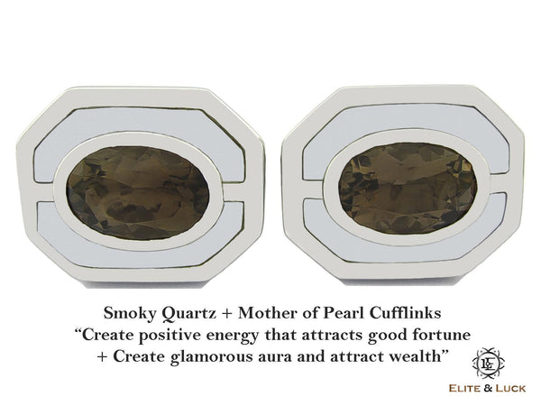 Smoky Quartz + Mother of Pearl Sterling Silver Cufflinks, Rhodium plated, Charming Model