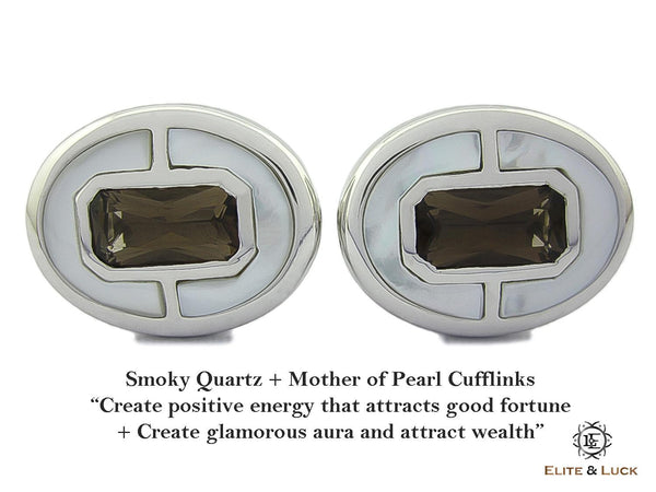 Smoky Quartz + Mother of Pearl Sterling Silver Cufflinks, Rhodium plated, Prestige Model
