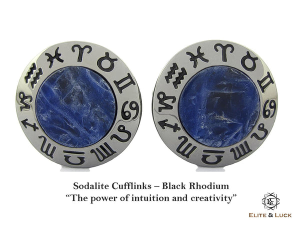 Sodalite Sterling Silver Cufflinks, Black Rhodium plated, Zodiac Model *** Exclusive Cufflinks for Virgo ***