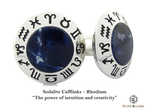 Sodalite Sterling Silver Cufflinks, Rhodium plated, Zodiac Model *** Exclusive Cufflinks for Virgo ***