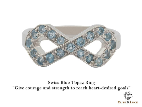 Swiss Blue Topaz Sterling Silver Ring, Rhodium plated, Infinite Model