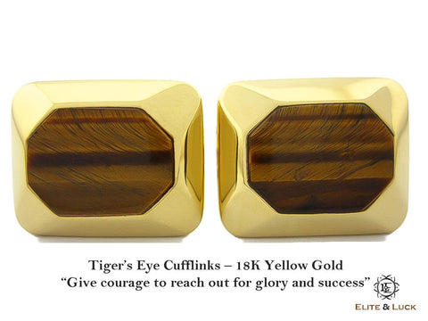 Tiger's Eye Sterling Silver Cufflinks, 18K Yellow Gold plated, Modern Model