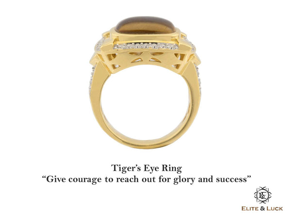 Tiger's Eye Sterling Silver Ring, 18K Yellow Gold & Rhodium plated, Luxury Model