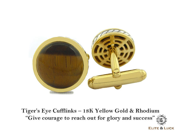 Tiger's Eye Sterling Silver Cufflinks, 18K Yellow Gold & Rhodium plated, Limited Model