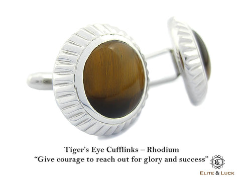Tiger's Eye Sterling Silver Cufflinks, Rhodium plated, Elegant Model